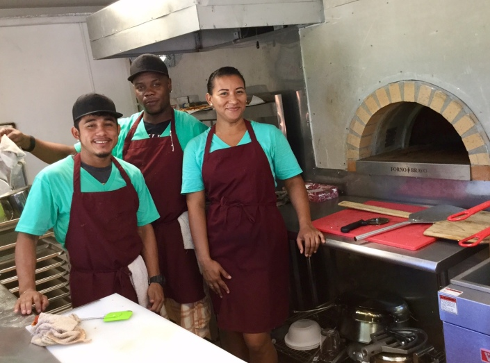 """The Haven crew (from left) Louis Valdez, Ernest Clive Arana, and Roshany Rivero. Ernet, known by all as """"Chip"""" is a familiar face on the local pizza circuit, a seasoned pie master and the crew chief."""