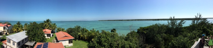 The view from the observation tower at the Bacalar Chico Coast Guard Station, at the northernmost point of Ambergris Caye.